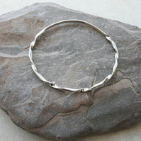 Sterling Silver Bangle, Oval, Twisted D-profile