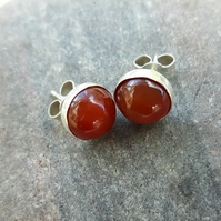 Sterling Silver Stud Earrings with Carnelian Gemstone