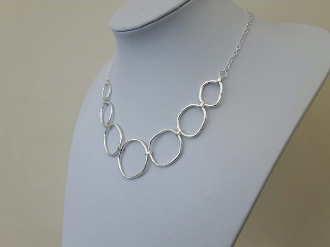 Sterling Silver Chain Necklace, Large Hammered Links, Hallmarked