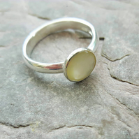 Sterling Silver Ring with Lemon Shell Pearl