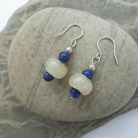 Sterling Silver Drop Earrings with blue Sodalite and white Charm Beads