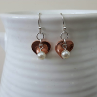 Copper Heart Drop Earrings with Sterling Silver and Pearl