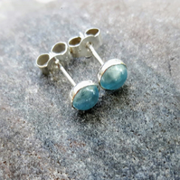 Sterling Silver Stud Earrings with Sky Blue Topaz Cabochons