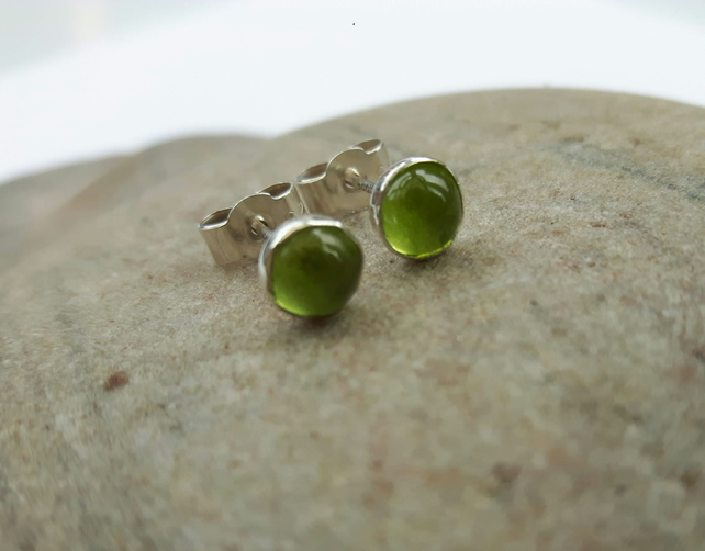 Sterling Silver Stud Earrings with Peridot Cabochons