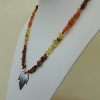 Hop Leaf Pendant Necklace with Mixed Gemstone Nuggets  in Autumn Shades