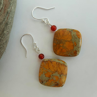 Autumn Colours Gemstone Drop Earrings with Jasper, Carnelian and Sterling Silver