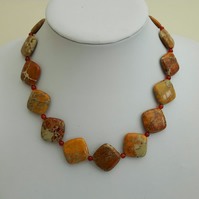 Autumn Colours Gemstone Necklace with Jasper, Carnelian and Sterling Silver