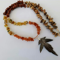 Maple Leaf Pendant Necklace with Mixed Gemstone Nuggets, Autumn Shades