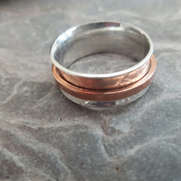 Spinner Ring, Sterling Silver with Copper Spinner, size Q
