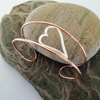 Copper Cuff Bangle with Sterling Silver Heart