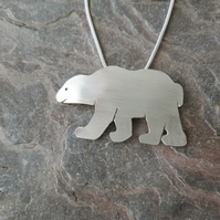 Silver Polar Bear Pendant Necklace