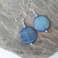 Blue Shell Dangle Earrings