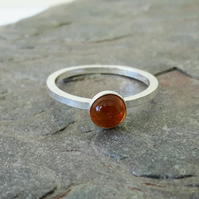 Sterling Silver Ring with Citrine Gemstone
