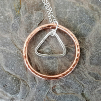 Geometric Pendant Necklace, Silver Triangle in Copper Circle