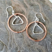 Geometric Drop Earrings, Silver Triangle in Copper Circle