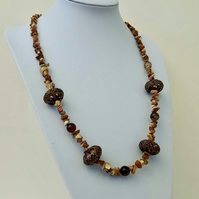 Mixed Gemstone Necklace with Coppertone Beads