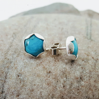 Turquoise and Silver Stud Earrings, 8mm, in Petal Setting