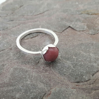 Sterling Silver Ring with Pink Rhodonite Gemstone in Petal Setting