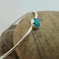 Sterling Silver Bangle with Turquoise Gemstone