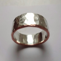 Wide silver and copper men's wedding ring