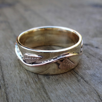 Gold male leaf ring