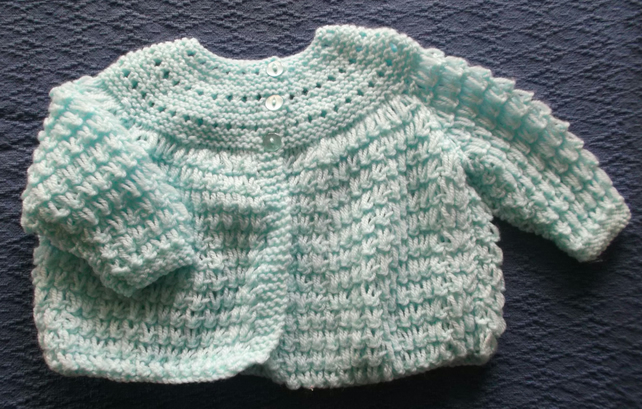 Delicate aqua coloured matinee coat for  3-6 months.