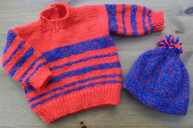 Lovely bright red and blue striped jumper with matching hat. For 3-6 months.