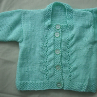 Aqua Cardigan with lovely Square Neck. Perfect for ages 3-6 months