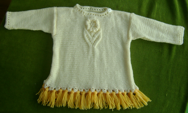 Buttermilk Cream and Gold Tunic with Pretty Flower Motif. 18-24 months