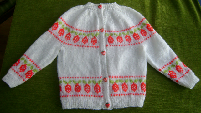 Delightful, Pretty White Cardigan with Strawberry Pattern. 2-3 years.