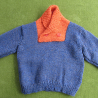 Tweedy Denim Blue with Orange Jumper with Shawl Collar for age 2 years.