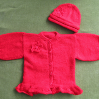 Sparkly Red Cardigan, Jacket with Hat for 18-24 months.