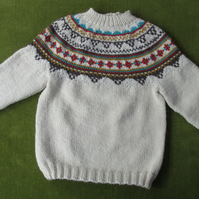 Pure Alpaca and Wool Blend Cream Jumper with Fairisle Pattern. For 3-4 years.