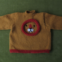 Unique and Fun Wool Jumper in Gold and Rust with Lion Details for 2-3 years.