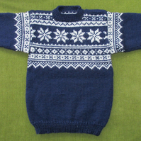 Pure Wool Navy Blue Jumper with Natural White Fairisle Pattern. For 3-4 years.