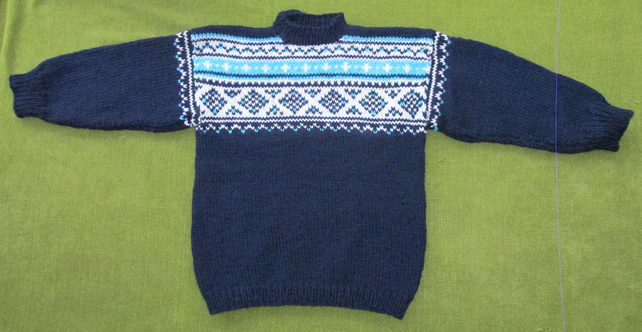 Navy Blue Jumper with Turquoise and White Fairisle Pattern. For 3-4 years.