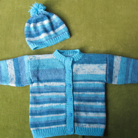 Striking Turquoise and Blue Striped Jacket Cardigan for 18-24 months.
