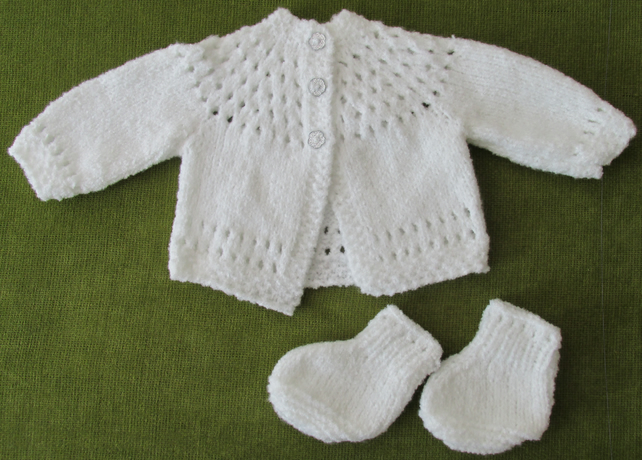 Sweet, dainty, soft and fluffy white matinee coat, plus socks - 0-3 months