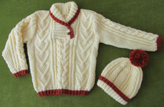 Cream and Brown Jumper and Hat with Aran Pattern. For 3-4 years.