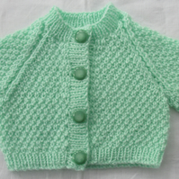 Delicate Mint Green Cardigan for Newborn. 0-3 months.