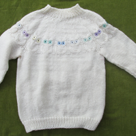 Cream Jumper with Owl Design Pattern. For 3-4 years.