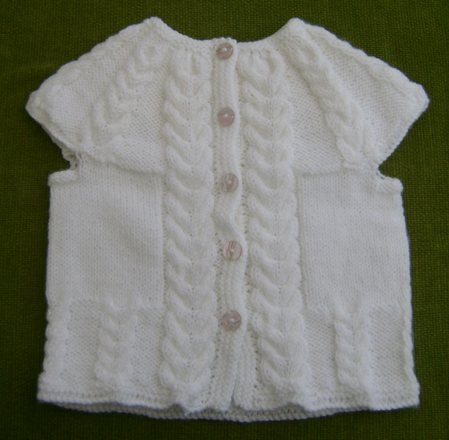 Pretty Cap Sleeved, White Cardigan for 18-30 months.