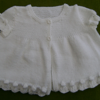 Pretty Cap Sleeved, White Cardigan for 12 - 18 months.
