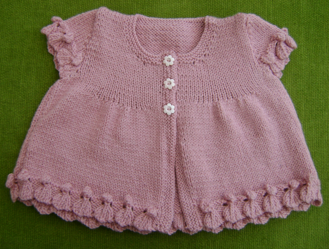 Pretty Cap Sleeved, Heather-Pink Cardigan for 12 - 24 months.