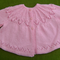 Sweet, Vintage Style Rose Pink  Matinee Coat for baby 3-6 months