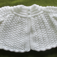 Delicate White Matinee Coat for  0-3 months.
