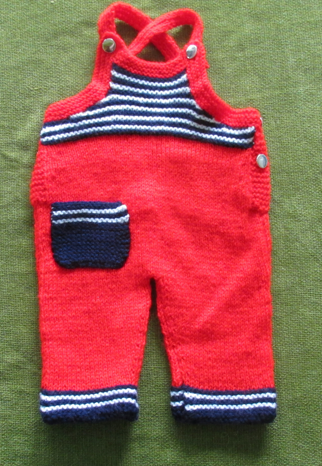 Fun, Red and Navy Dungarees - Trousers for  0-3 months.