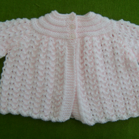 Delicate Pale Pink Matinee Coat for  0-3 months.