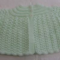 Delicate Mint Green Matinee Coat for  0-3 months.