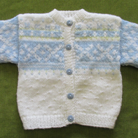 Delicate White Nordic Cardigan for 6-12 months.